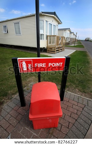 Fire point at modern holiday caravan site.