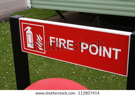 Fire point sign in caravan and camping park.