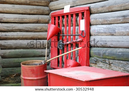 fire protection: spade, barrel, cask, bucket, pail