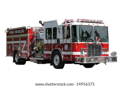 Fire Rescue Truck isolated on white clipping path included