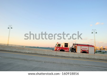 Fire rescue truck on the move, West Palm Beach, FL, USA