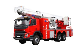 Fire rescue vehicle. Big red rescue car of Russia, isolated on white.