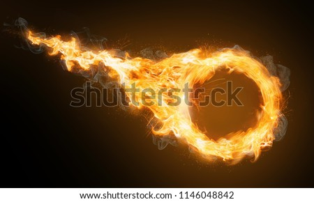 Fire ring with flame trail