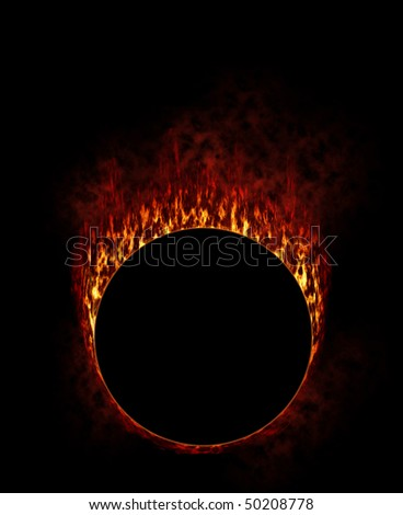Fire Ring with smoke in black background