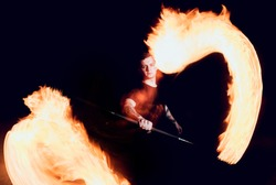 Fire show. Fire performance at the night. Background
