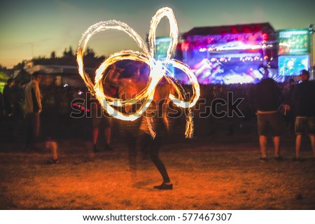 Fire show on music festival. #577467307
