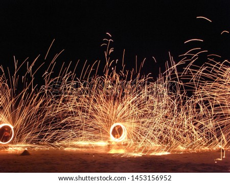 Fire show performers on Koh Samui beach #1453156952