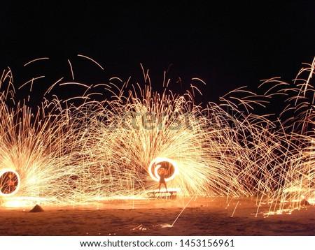 Fire show performers on Koh Samui beach #1453156961