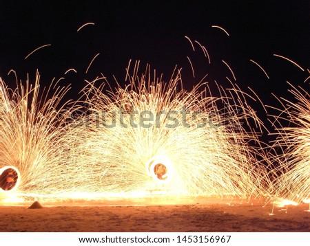 Fire show performers on Koh Samui beach #1453156967