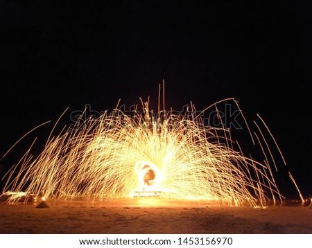 Fire show performers on Koh Samui beach #1453156970
