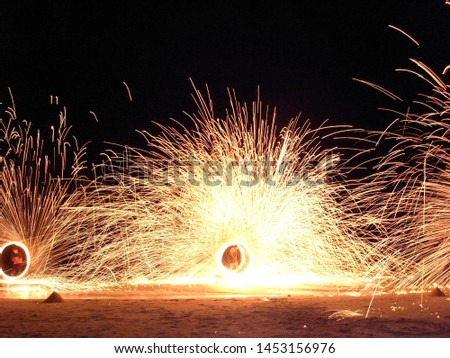 Fire show performers on Koh Samui beach #1453156976