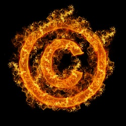 Fire sign Copyright on a black background