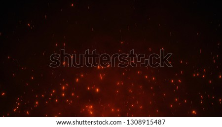 Fire Spark Partiicles Abstract Background. Red Spark Particles Background.