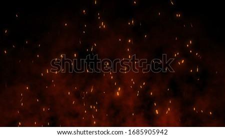 Fire Sparks Bonfire Embers Abstract Creative illustration visual effect over dark (black) background bonfire . Foto stock ©