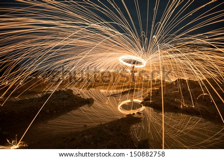 Stock Photo Fire spinning from steel wool