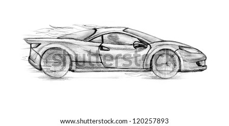 Fire Sport Car. Sketch illustration on white background