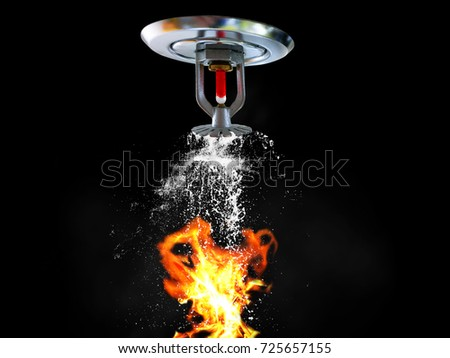 Fire Sprinkler spraying. Fire and water on background. - Shutterstock ID 725657155