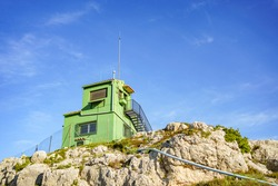 Fire surveillance tower on top of a mountain