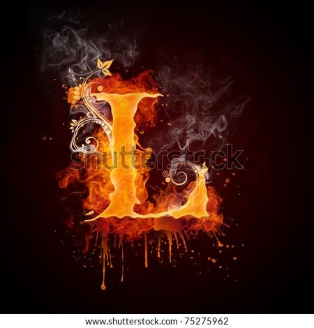 Fire Swirl Letter L