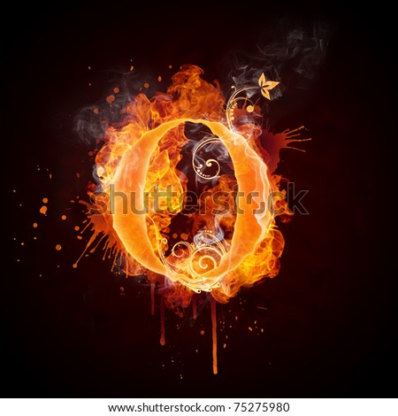 Fire Swirl Letter O - stock photo