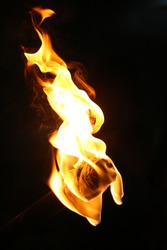 fire torch with black background