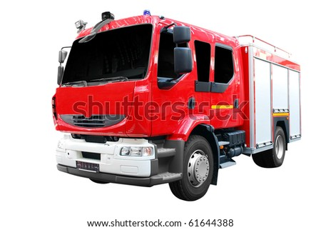 fire truck front view isolated