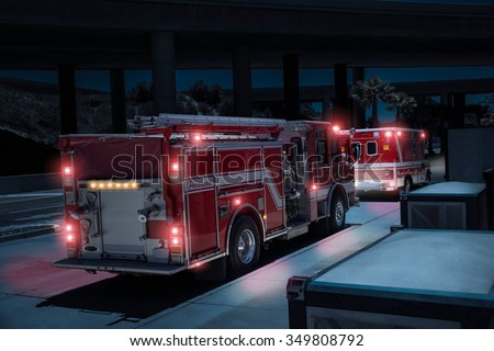 fire truck paramedics and...