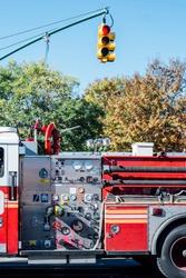 Fire truck stopped in Manhattan, New York.