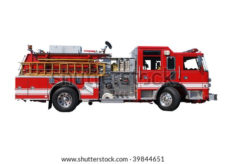 Fire truck with hoses and wooden ladder.