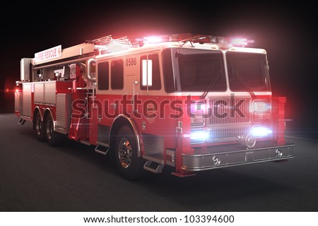 Fire truck with lights, Part of a first responder series.