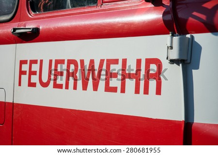 Fire truck with the german word firefighters / Fire truck