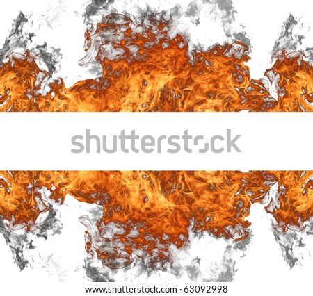 Fire wall on white background