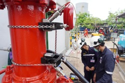 Fire water hydrant pipes are installed flow rate test device to measure the flow of water in steel pipes.