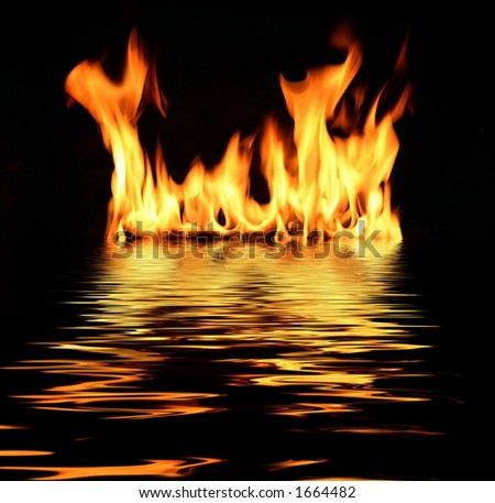 fire with reflection in water