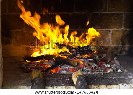 Fire wood burns in a fireplace. Burning wood in the fireplace and the flames