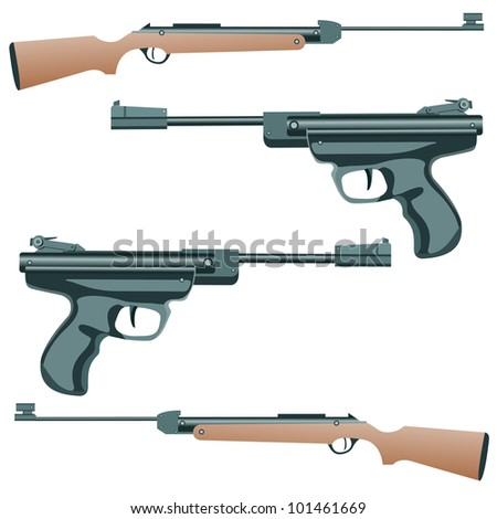 firearm, a pistol on a white background. - stock photo