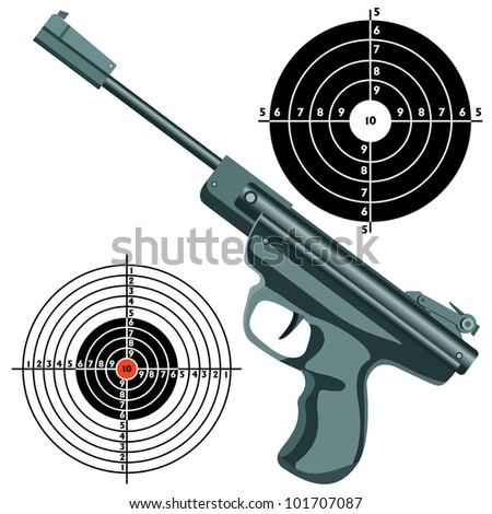 firearm, the gun against the target.