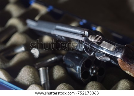 Firearms Revolver blur,Close up Revolver Gun Weapon pointed at You. #752173063