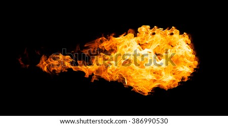 Fireball isolated on black background. Close up