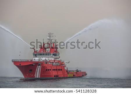 Fireboat. - Shutterstock ID 541128328