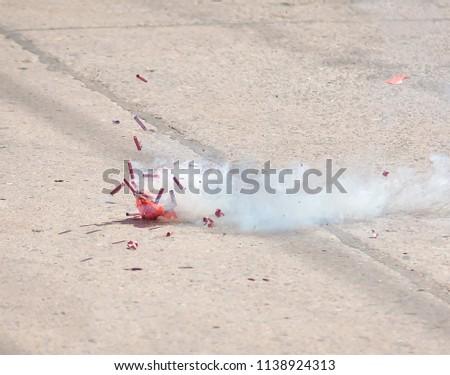 Firecrackers, burnt firecrackers lying in Shrine #1138924313