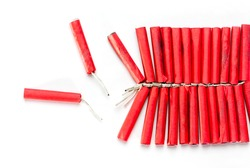 Firecrackers String isolated on white background
