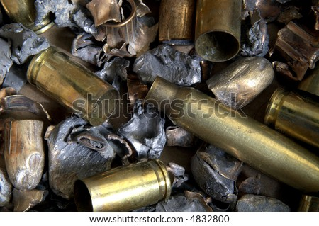 Fired bullets and shell casings, macro