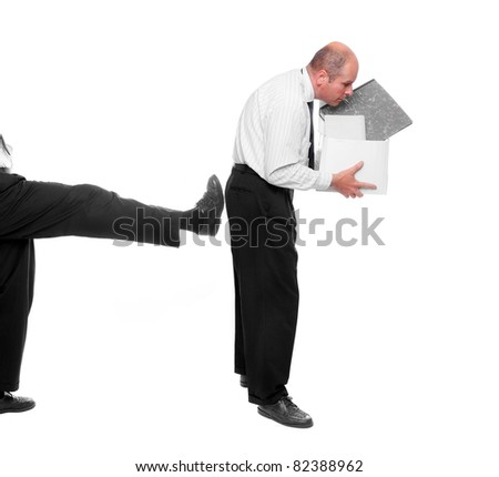 Fired businessman. Funny picture from office. - stock photo