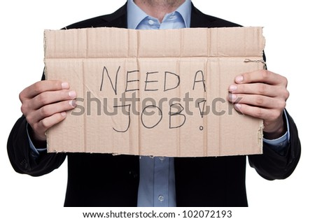 Fired businessman searching for a job isolated on white background