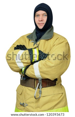 Firefighter crossed his arms. Isolated on white background