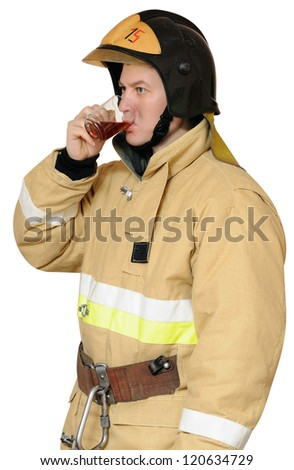 Firefighter drinking hot black tea. Thirst during operation. Isolated on white background