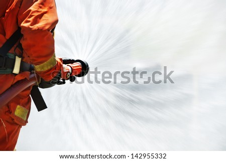 Firefighter during training