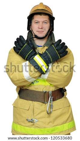 Firefighter gives gesture CLOSE. Isolated on white background