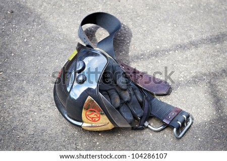 Firefighter Helmet, gloves and belt on grunt